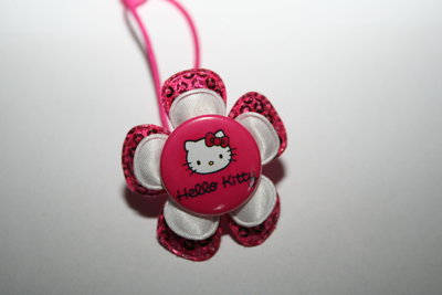 Haarelastiek Hello Kitty fuchsiapailletten/wit