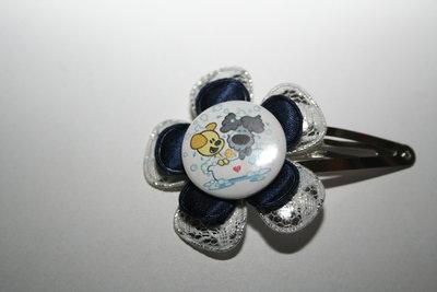 Haarclipje Woezel & Pip zilver-witkant/donkerblauw