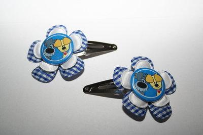 Haarclipje Woezel & Pip blauw-witte ruit/wit