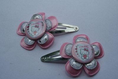 Haarclipje Hello Kitty lichtroze/zilver-witkant
