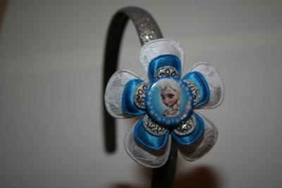 Brede Haarband Frozen Elsa witkant/felblauw/zilverpaillet
