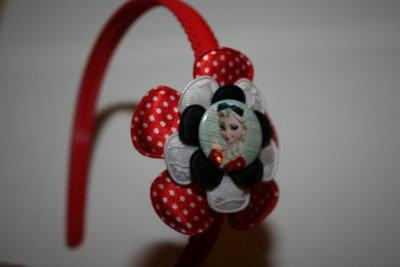 Brede Haarband Frozen Elsa rood-witte stip/witkant/zwart