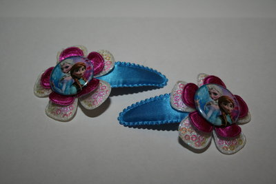 Haarclipje Frozen Elsa en Anna felblauw/witpaillet/paars