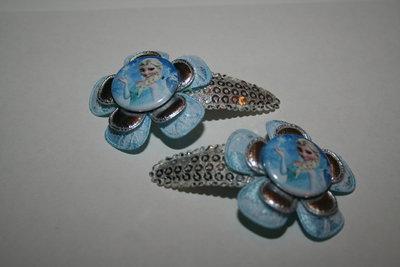 Haarclipje Frozen Elsa zilverpaillet/blauw-witkant/zilver