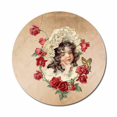 Meisje met rozenkrans