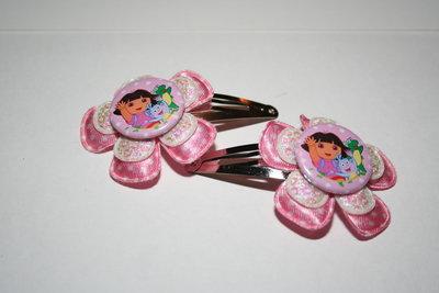 Haarclipje Dora roze-witte stip/witpaillet