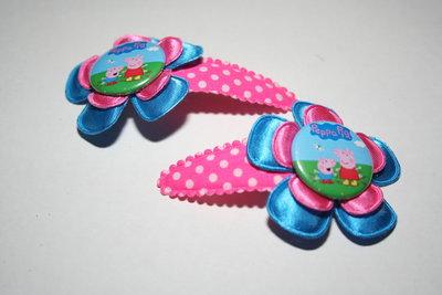 Haarclipje Peppa Pig neonblauw/roze
