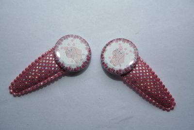 Haarclipje Olifantje roze-zilver