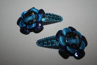 Haarclipje Frozen Elsa donkerblauwpaillet/neonblauw