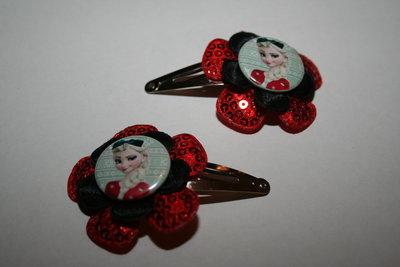 Haarclipje Frozen Elsa roodpaillet/zwart