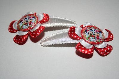 Haarclipje Mickey & Minnie rood-witte stip/wit