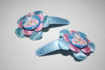 Haarclipje Hello Kitty lichtblauw/lichtroze