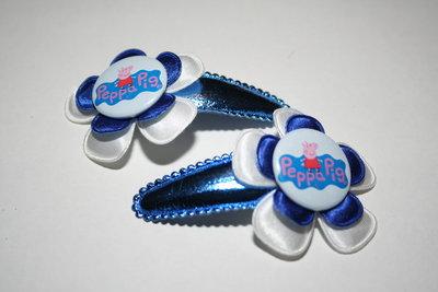 Haarclipje Peppa Pig wit/kobaltblauw