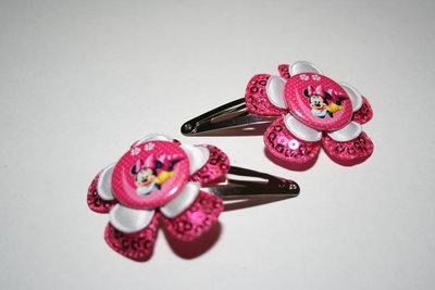 Haarclipje Minnie Mouse fuchsiapaillet/wit