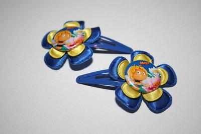 Haarclipje Maya de Bij kobaltblauw/geel