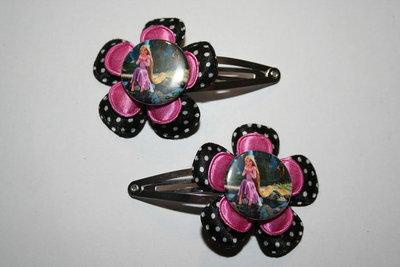 Haarclipje Rapunzel zwart-wittestip/roze