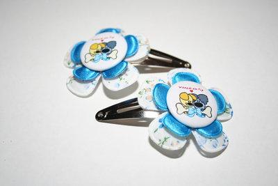 Haarclipje Woezel & Pip wit gebloemd/felblauw