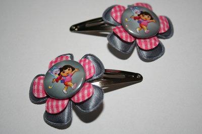 Haarclipje Dora grijs/roze-wt geruit