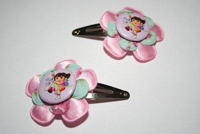 Haarclipje Dora lichtroze/mintgebloemd