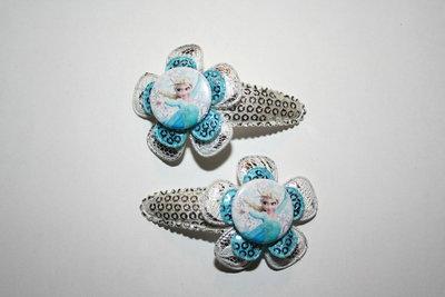 Haarclipje Frozen zilver-witkant/blauwpaillet