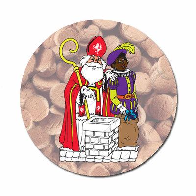 Flatback met Sinterklaas en Piet bij schoorsteen