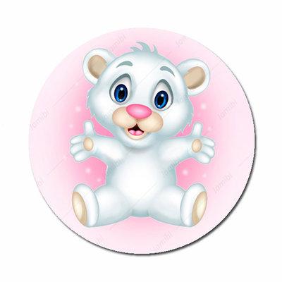 Beertje flatback button roze