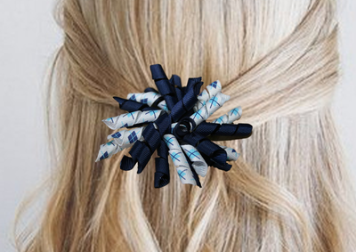 Krullenclip donkerblauw/wit/wyber
