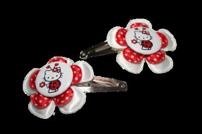 Haarclipje Hello Kitty wit/rood-witte stip