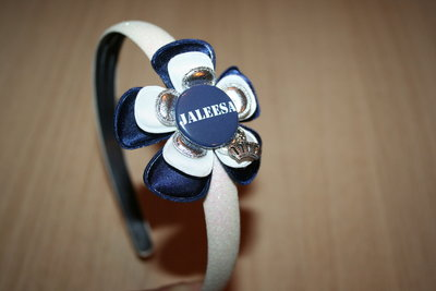 Brede Haarband met Naam blauw/wit/zilver
