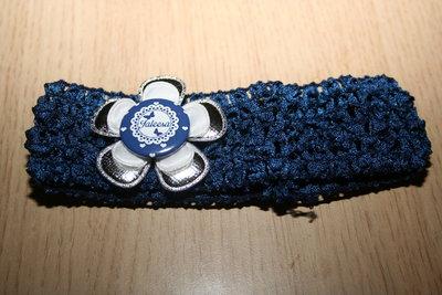 Gehaakte Elastieken Haarband Naam blauw/zilver/wit