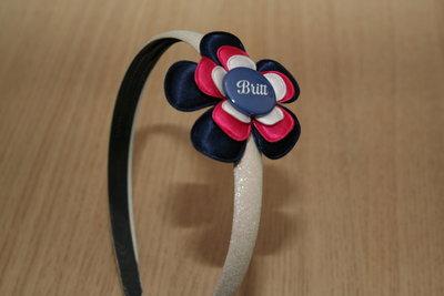 Brede Haarband met Naam blauw/wit/fuchsia