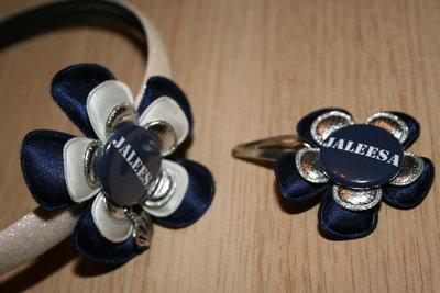Set Haarband en Haarclipje Naam blauw/wit/zilver