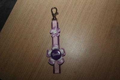 Sleutelhanger enkel Lint met Naam lichtroze/paars
