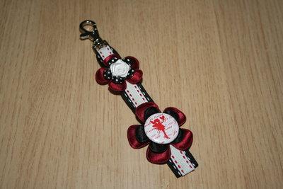 Sleutelhanger enkel Lint Liefde rood/wit/zwart