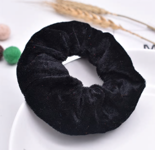 Scrunchie zwart fluweel groot