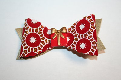 Leren haarstrik goud/rood witte print kerst cadeautje