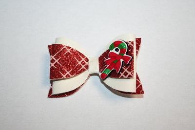 Leren haarstrik ivoorwit/print roodglitter candy cane