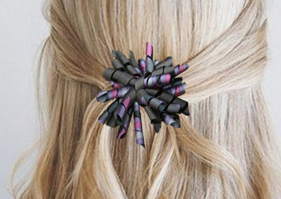 Krullenclip donkergrijs/paars/roze