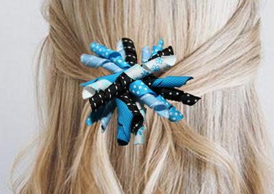 Krullenclip blauw/zwart