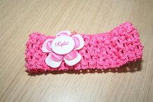 Gehaakte Elastieken Haarband Naam wit/roze