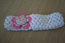Gehaakte elastieken haarband wit/roze/zilver