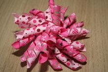 Krullenclip roze stip/roze hartjes/fuchsia bloemen/fuchsia hartjes