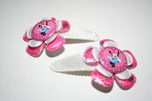 Haarclipje Minnie Mouse zilver-rozekant/wit