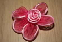 Clip met Organza bloem roze